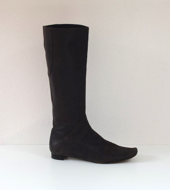 Marni Suede Boots/ Flat Leather Knee