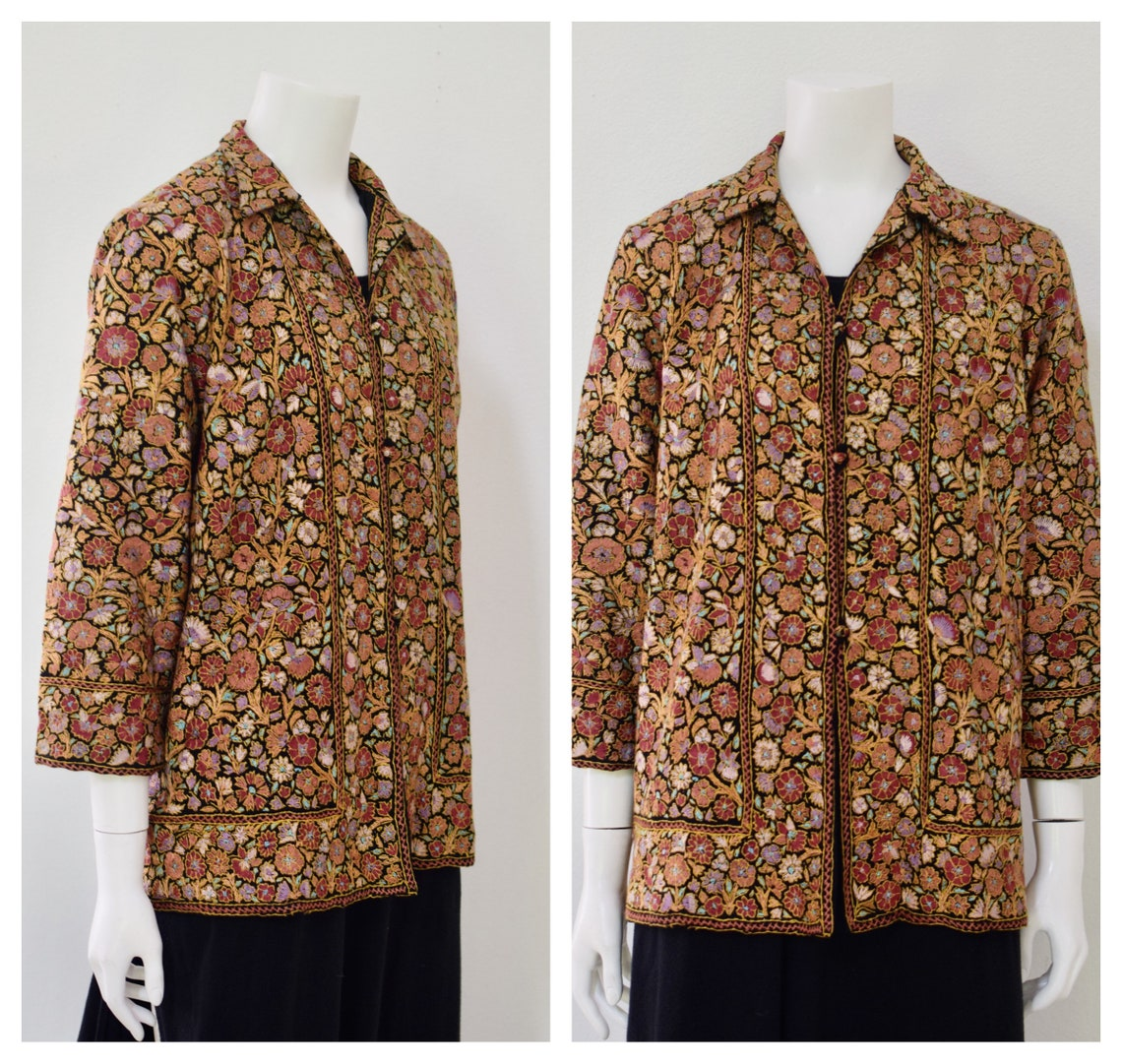 80s Floral Embroidered Jacket/ 1980s Orange Indian Womens Size Xs Small