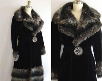 1960s Faux Fur Coat with Contrasting Fur Trim/ Mod Belted Super Caress Coat/ Womens Size Medium