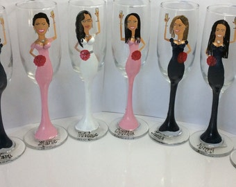 Champagne Wedding glasses Cartoon Caricature