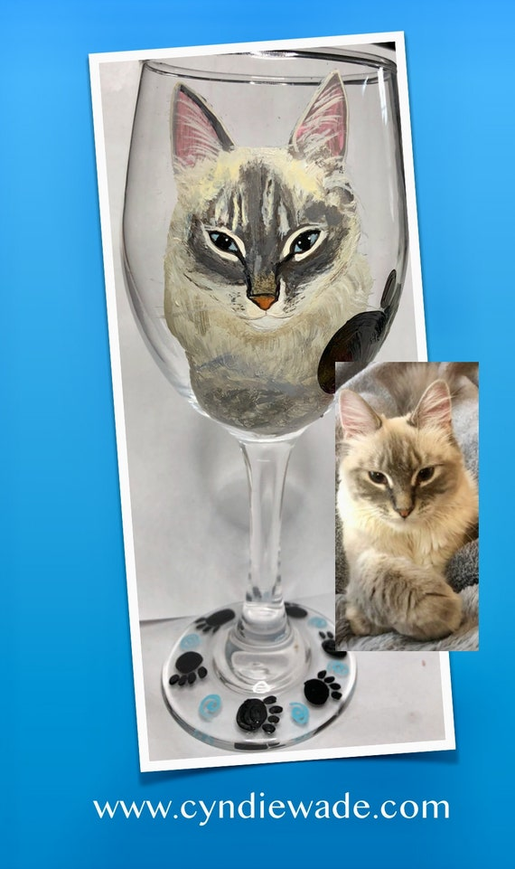 Chat Chaton Pet gravé verre vin cadeau