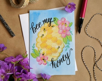 Bee My Honey Greeting Card - Funny Valentine Card - Anniversary Card - Couples - Love - Romance