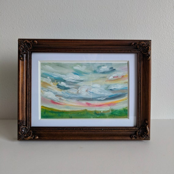 Taffy Sunrise Painting Original Oil Painting On Gesso Paper Etsy