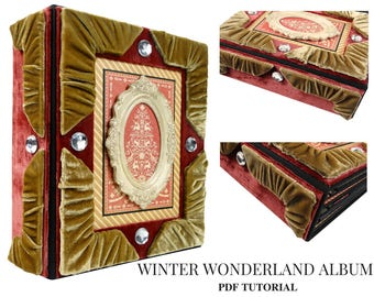 Winter Wonderland Mini Album  PDF Tutorial, Mini Album Tutorial, Scrapbook Tutorial, Scrapbook Album PDF Tutorial, Christmas Album Tutorial