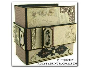 Alma's Sewing Room Mini Album PDF Tutorial, Scrapbook Tutorial, Mini Album Tutorial, Scrapbook Album Tutorial, Scrapbook PDF Tutorial
