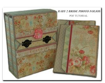 Baby 2 Bride Foto Folios (Mini Albums) With Storage Boxes PDF Tutorial, Mini Album Tutorial, Scrapbook Tutorial, Scrapbook Album