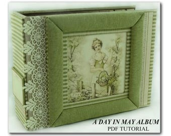 A Day In May Mini Album PDF Tutorial, Scrapbook PDF Tutorial, Scrapbook Album Tutorial, Mini Album Tutorial, How To Pattern