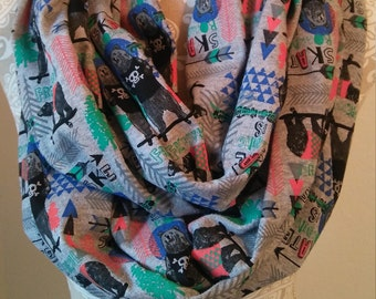 Skating Bear Infinity scarf, womens scarves, warm winter scarf, winter print scarf, cotton knit scarf, scarves for winter