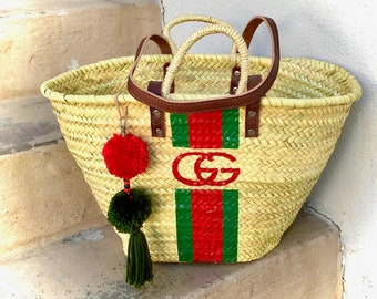 1839b5235f88 GUCCI Style Straw tote Leather Straps Basket Personalized Straw Tote Bag  Hand Painted Monogram Beach Basket Gucci Stripes Painted Straw Bag
