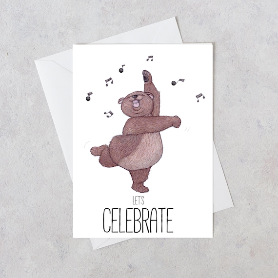 Bear greeting card birthday card lets celebrate new job etsy image 0 m4hsunfo