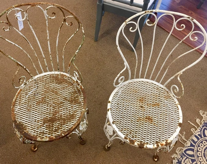 Vintage iron chairs-pair