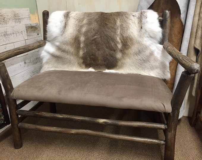Deer hide bench  custom made rustic, plush hide from Devon England