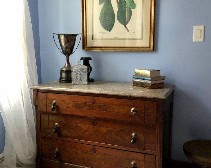 Antique matching marble top chests