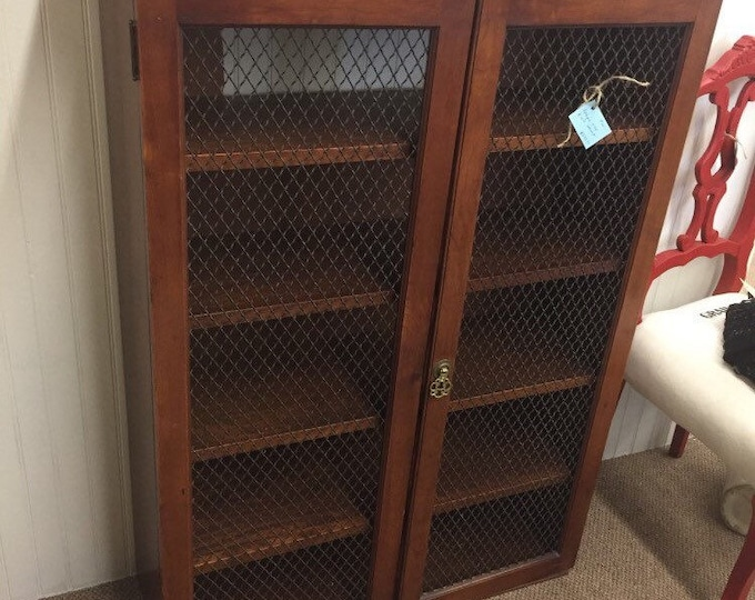 Antique wood and wire cabinet
