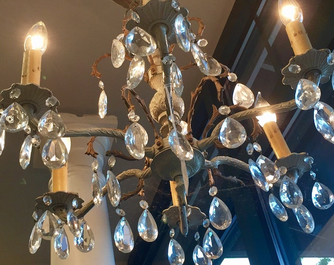 Vintage crystal Six Arm  Chandelier