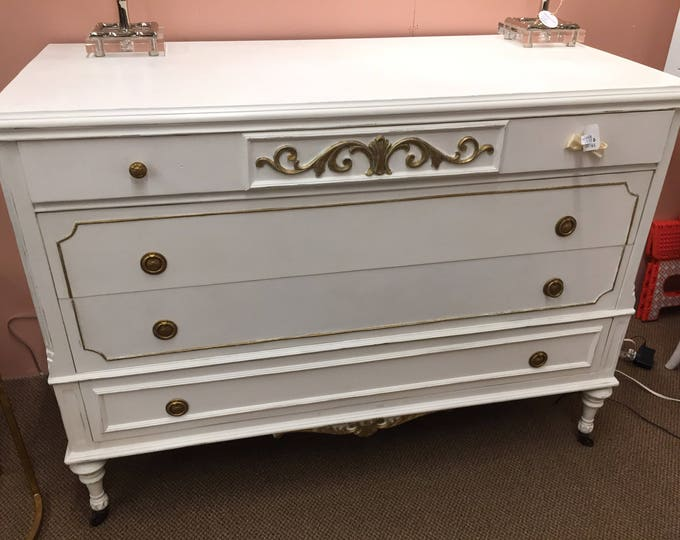 Dresser, painted white with gold trim