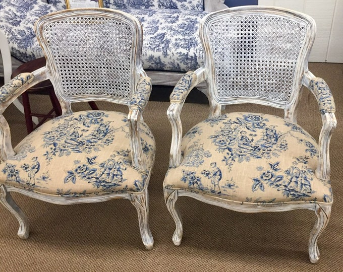 Vintage French Style Pair Chairs