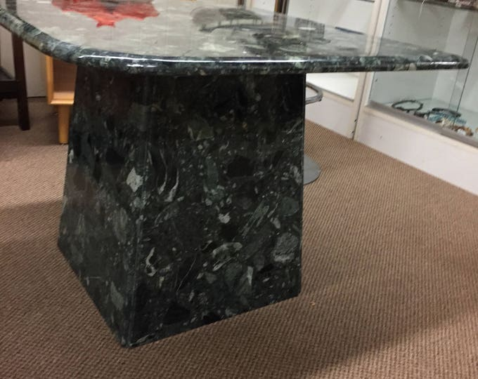 Mid century Vintage Green stone top table 2 pieces-Square