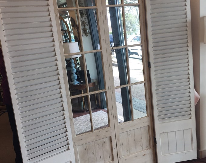 Vintage mirror window Door room scream with shutters