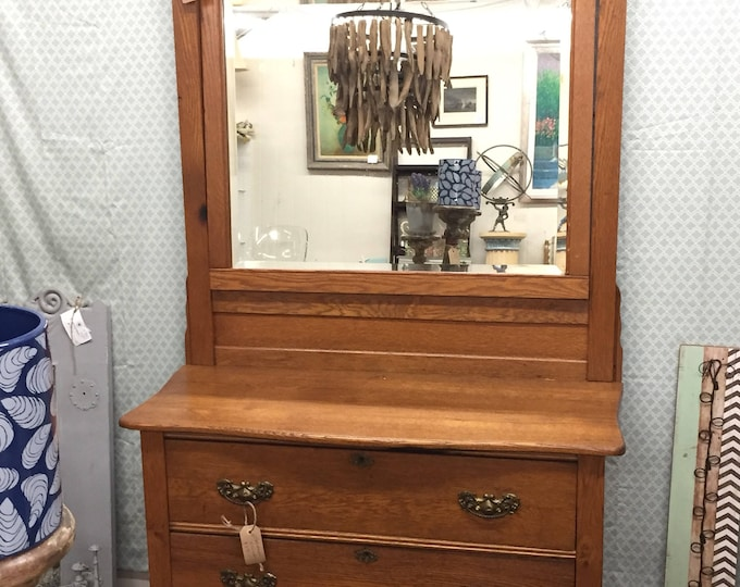 Vintage Oak dresser and mirror