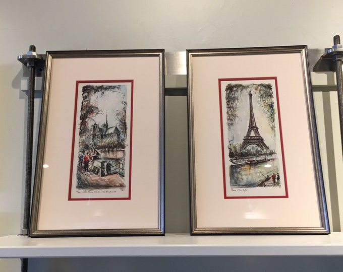 Vintage Paris Prints. Custom Framed. Set of 2