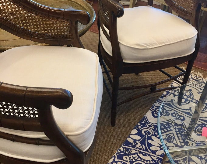 Vintage pair faux Bamboo Chairs