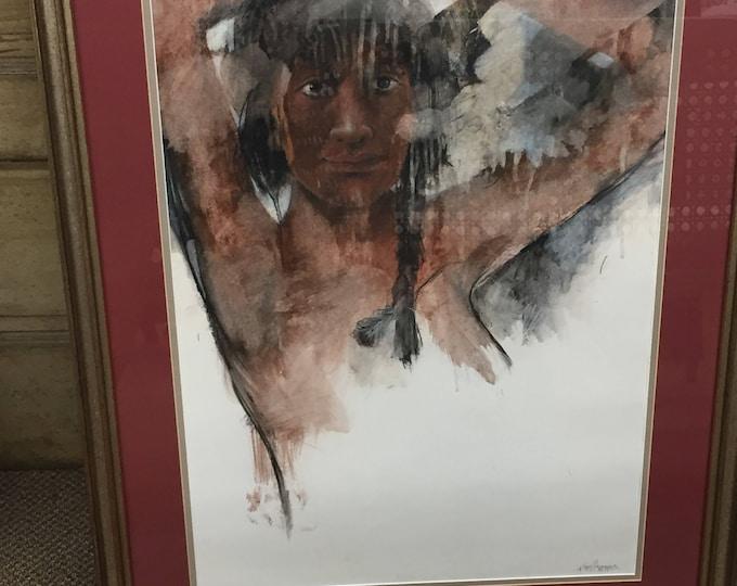 Vintage NAVAJO painting. Signed by Artist James Hansen