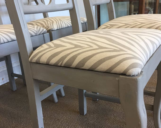 Set of 4 Zebra print dinning chairs
