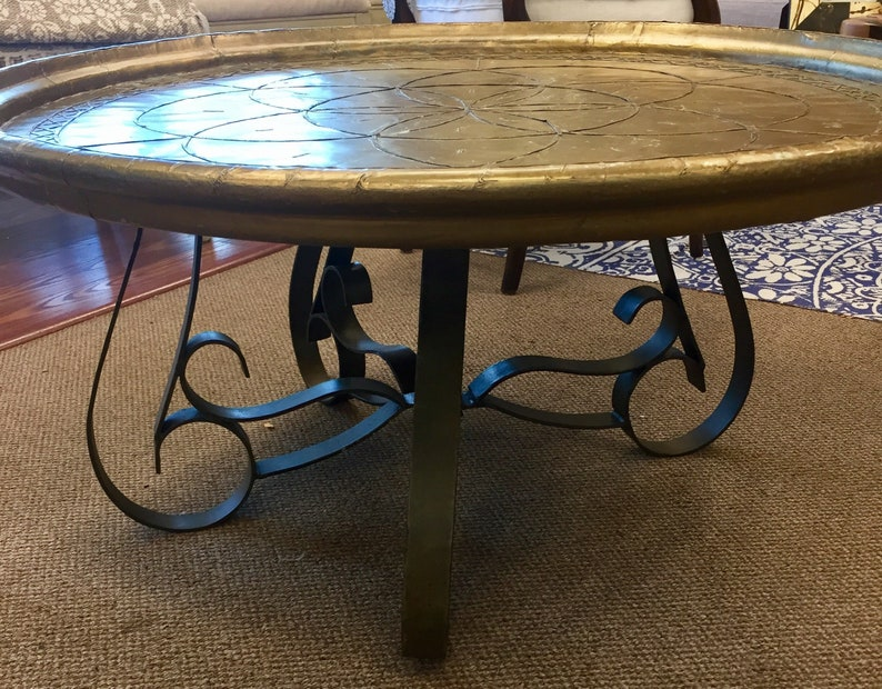 Peachy Vintage Brass Wrapped Top Coffee Table Bralicious Painted Fabric Chair Ideas Braliciousco