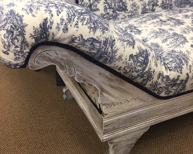 Vintage lounger  newly upholstered in navy toile