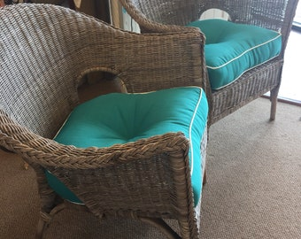 Vintage pair grey wicker chairs with cushions
