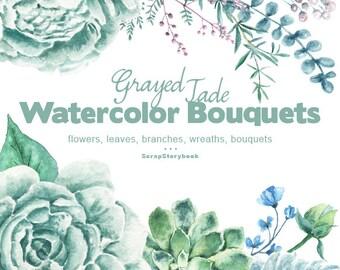 Grayed Jade Bouquets - digital printable clipart  -watercolor  bouquet, flowers, wreath, peonies