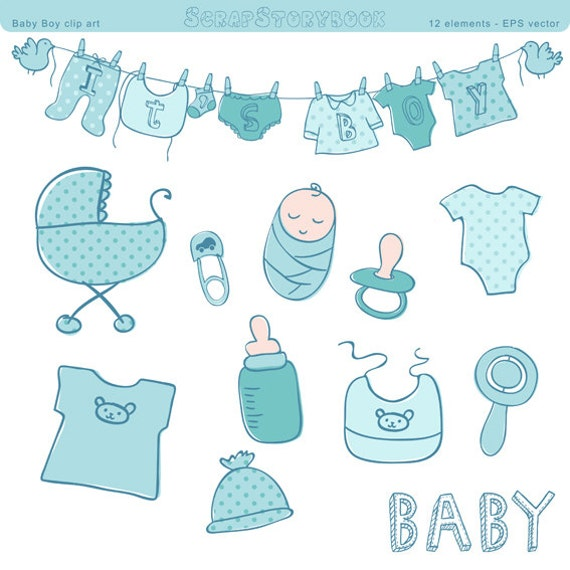 Baby Shower Clip Art Boy Eps Vector And Png File Blue Etsy