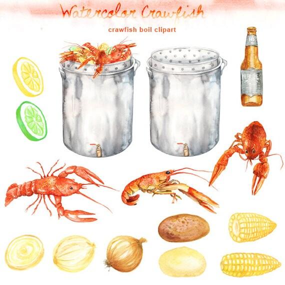 watercolor crawfish boil clipart digital printable clipart etsy rh etsy com crawfish boil clipart crawfish boil clip art images