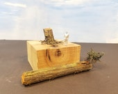 Mini Dead Tree Trunk, Log with Huckleberry Bush and a Stump, Model