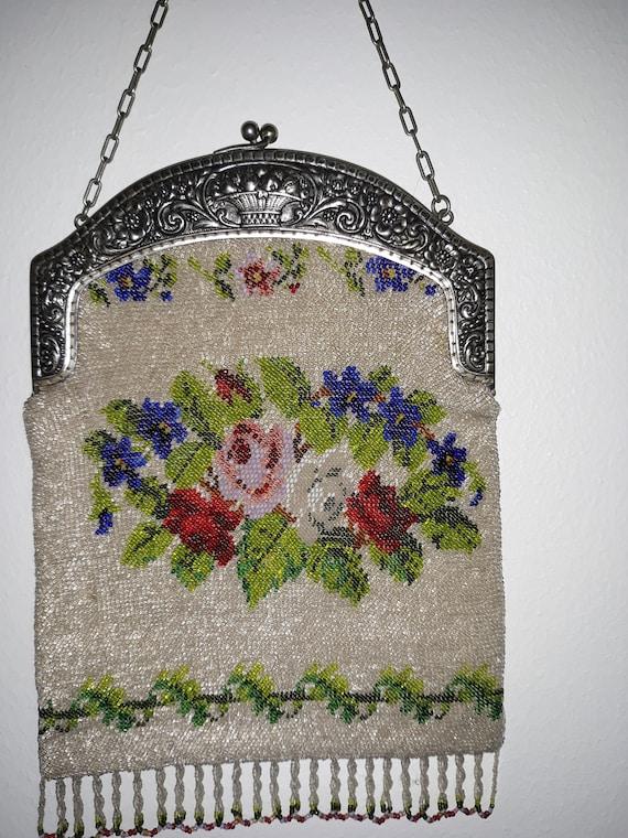 Antique Purse, Micro Beaded Purse, Micro Glass Be… - image 5