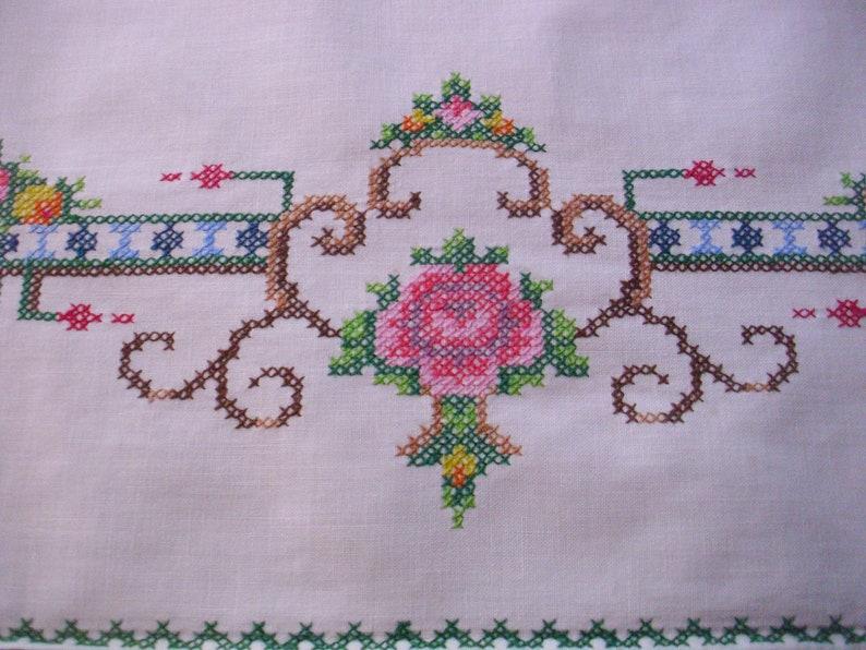 Embroidered Dresser Scarf Table Runner Vintage Linen Runner Table Scarf Cross Stitch Embroidery Table Linen Embroidered Runner