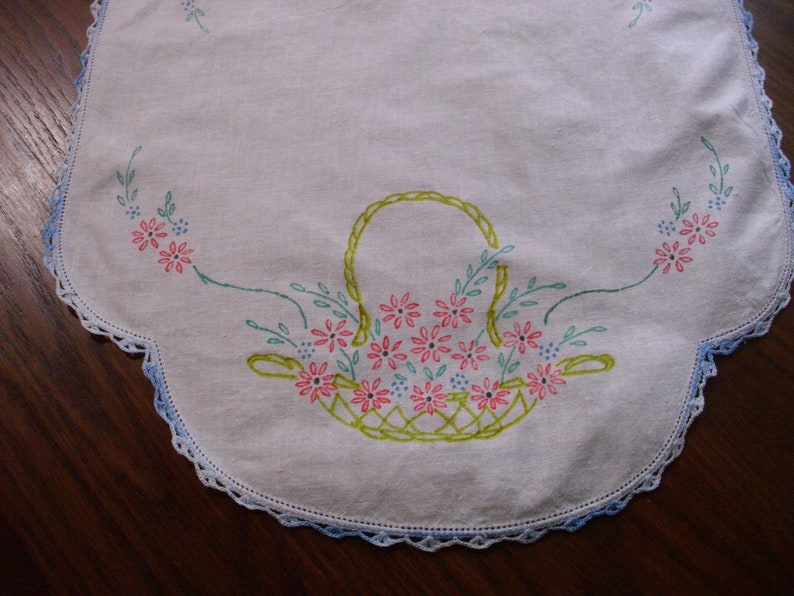 Pretty Pink Flowers Table Runner//Dresser Scarf Stamped for Embroidery