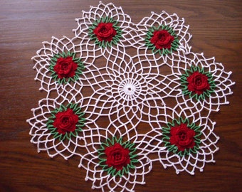 Vintage Red Rose Doily, Crocheted Doily, Rose Crochet Doily,  Red Doily, Round Crochet Doily, Lace Doily,  Red Table Linen