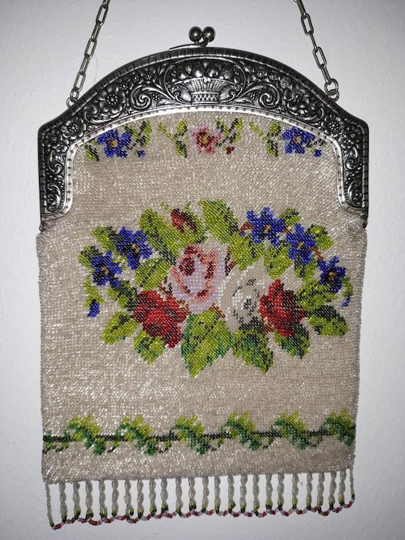 Antique Purse, Micro Beaded Purse, Micro Glass Be… - image 1