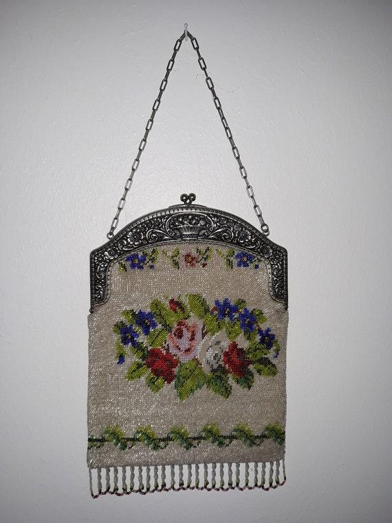 Antique Purse, Micro Beaded Purse, Micro Glass Be… - image 2