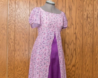 Pink and Purple Flowered Regency Gown