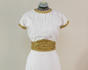 1930's White and Gold Retro Style Gown