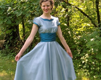 1950's Retro Style Blue/Teal Party Dress