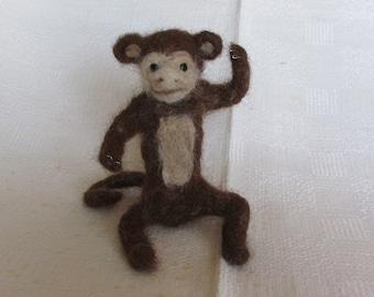 Needle Felted Poseable Monkey