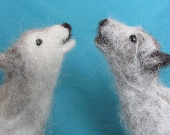 Howling Gray Wolf Needle Felted