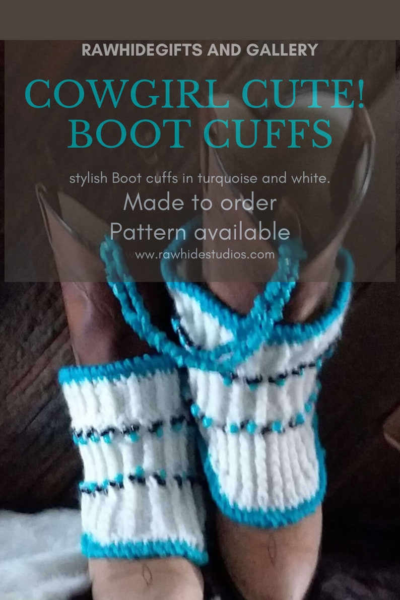 Boot Cuffs Hand Knitted Beaded White Turquoise  Blue Slouchy image 0