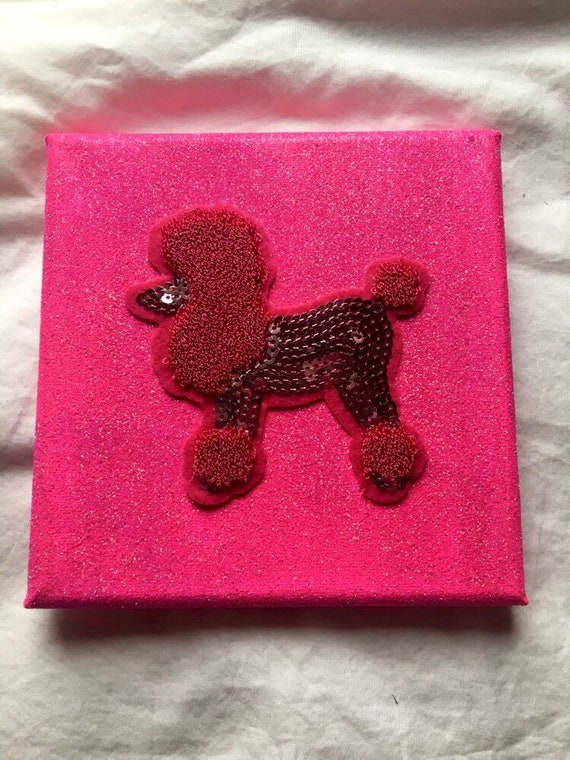 Handmade Hand Painted Pink Poodle Canvas Wall Art Etsy