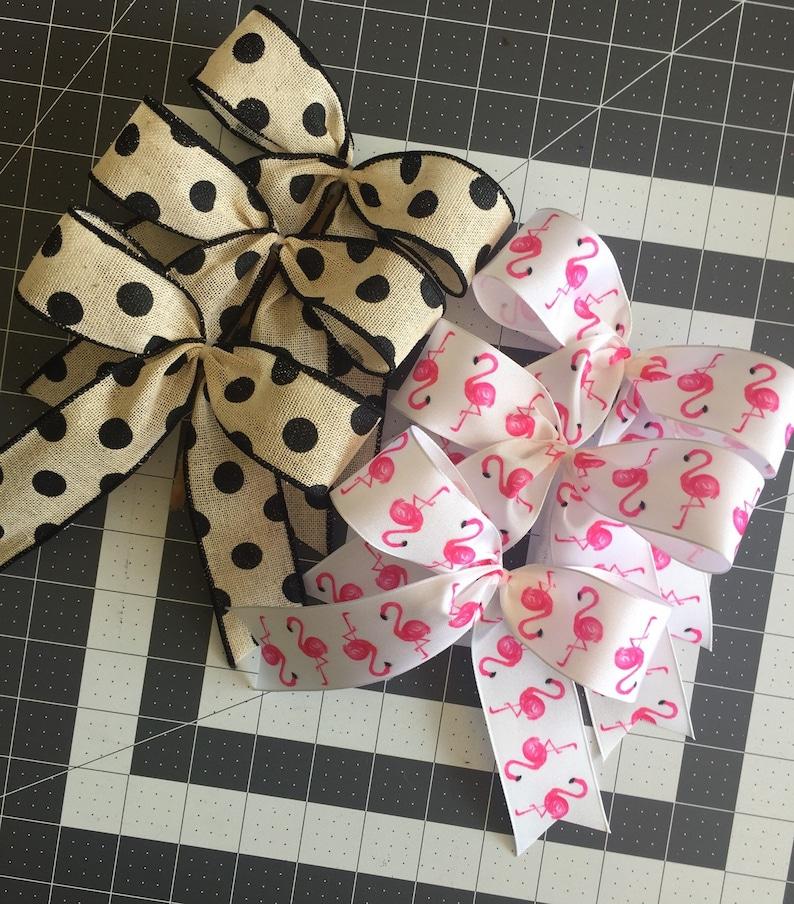 Bows in a set Wreath Bows Flamingo Wreath Wired Wreath Bows Canvas Bows Flamingo Bows Black polka dot Bows
