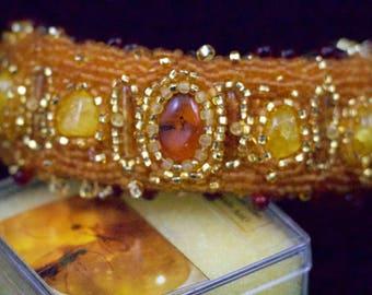 Amber Bracelet, Encased Fossilized Insect, Amber, and Coral Bracelet